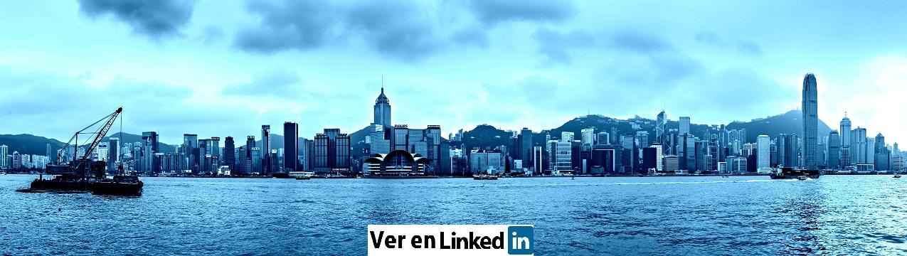 Honk Kong sepia skyline